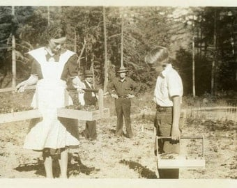 "Antique Photo ""The Day for Picking Strawberries"" Fruit Box Boy Farming Life Harvest Woman Man Family Farm Paper Ephemera Picture - 105"