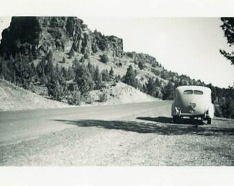 """Vintage Photo """"Picturesque Parking"""" Landscape Car Snapshot Photo Old Antique Black & White Landscape Photograph Found Paper Ephemera - 180"""