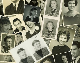 "50 pc - Vintage Photo Lot ""Teenager Collection"" Old Portrait Photo Picture Antique Black & White Photography Found Paper Ephemera - 060415"