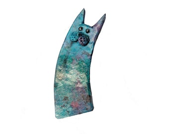 Cat brooch, Cat pin named CHARLES, Blue-green polymer clay Animal brooch - polymer clay collectible cat, christmas gift for cat lovers, chat