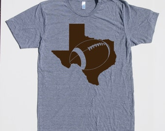 Mens Texas football t shirt- american apparel athletic gray- available in s, m, l, xl, xxl- WorldWide Shipping