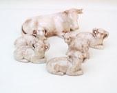 Vintage Animal Figurines / Farm Animals / Porcelain Ram Horns Cow Sheep Lot of 6