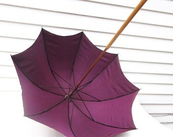 Antique Mens Umbrella | Walking Stick | Sterling Handle | Edwardian Sun Parasol | Wood Walking Cane - As Is
