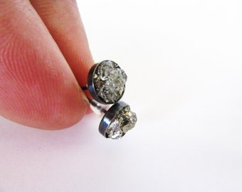 Herkimer Diamond Stud Earrings With Pyrite Minerals// Boho Rustic Crystal Mineral Wedding Jewelry