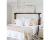 King Size Gathered Dust Ruffle Bed Skirt * Natural Cream Tan Color Osnaburg Fabric* Shabby Chic *