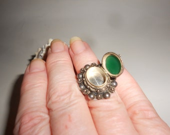 Jade Poison Ring Mysterious Secret Compartment Ring Natural Deep Green Jade Stone - Vintage 40s Native American 800 Coin Silver Jewelry