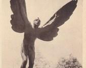 The Aviator Statue- 1940s Vintage Postcard- McConnell Memorial- Gutzon Borglum- University of Virginia- Charlottesville, VA- Paper Ephemera
