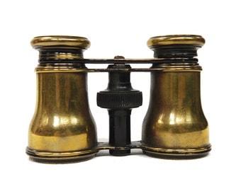 Vintage Brass Opera Theatre Glasses Binoculars FATTORINI PARIS