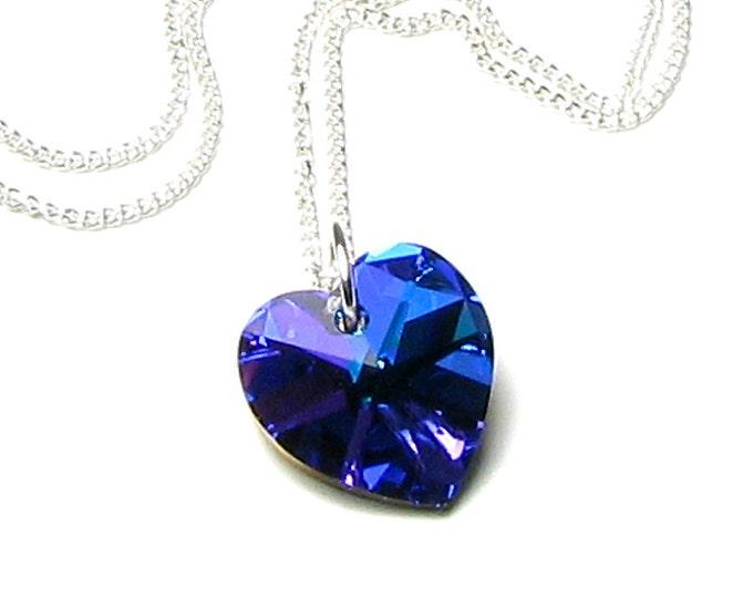 Blue Heart Pendant Necklace, Swarovski Crystal, Heliotrope Heart, Silver Necklace, Purple, Romantic Jewelry for Women, Heart of the Ocean