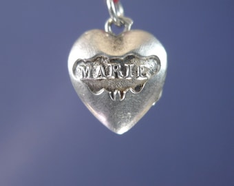"""Marie and Jesus Silver Vintage Open Locket Religious Pendant Jewelry on 18"""" sterling rolo chain"""