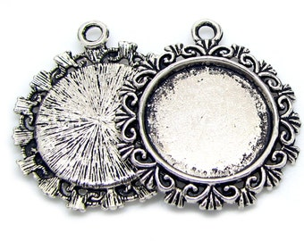 Cabochon Setting | Bezel : 10 Antique Silver Round Cameo Setting / Bezel ... Holds 20mm cabochon -- Lead & Nickel Free H3I