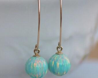 NEW Seafoam Mint Green Opal Drop Earring,14K Gold Filled Opal Long Earring,Ball Lab Created Opal,Almond,Statement,Sea Foam Aqua Blue Green
