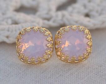 Swarovski Rose Water Opal Cushion Crown Stud,Swarovski Rhinestone Stud,Pastel Baby Pink Opal,Fancy Crown Setting Post,Silver or Gold