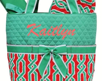 Personalized Diaper Bag Quilted Geometric Coral & Mint Green