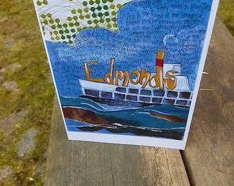 EDMONDS, WASHINGTON, Northwest Card, Washington State  Card, Mixed Media Card,Pacific NW, Puget Sound Card by Seattle Artist Mary Klump
