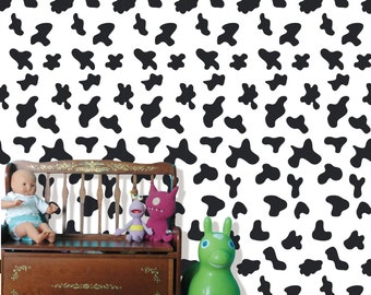 Removable Peel and Stick Fabric Wallpaper- Seamless Cow Pattern Wall Paper -Modern Wall Murals Children Room Wall Covering  prt0058