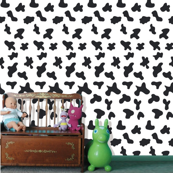 Removable Peel And Stick Fabric Wallpaper Seamless Cow