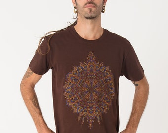 Screen Printed Men Tee In Brown, Visionary Art T-shirt, Psychedelic Shirt, Yoga Shirt, Burning Man Clothing, Psychedelic Art