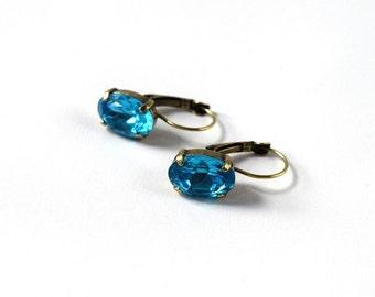 Teal Blue Earrings, Turquoise Crystal Jewelry, Peacock Blue Earring, Blue Topaz Rhinestones, Dames a la Mode Jewelry, Strass Earrings Blue