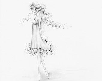 Fashion Illustration Pencil Drawing Illustration Drawing of a Girl One of a Kind Gift for Her Girls Room Unique Gift Pretty Girl Original
