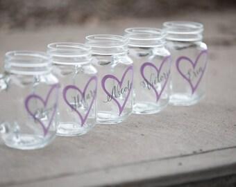 Bridesmaids gifts Bridesmaid gift ideamason jar glass. Mason jar wedding party gift. Heart Barn wedding glasses, lilac gray wedding. Rustic