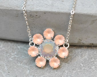 Peach Cluster Necklace Swarovksi Crystal Frosted Peach Aurora Borealis Necklace Rhinestone Cluster Necklace Statement Jewelry Holiday Gift