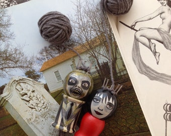 Beetlejuice and Lydia-The Happy Couple : Spool Knitter, Knitting Nancy