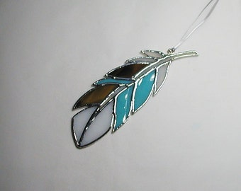 Turquoise White Native American Feather Stained Glass Suncatcher, Art & Collectibles, Glass Art Spirit Feather, Handmade Glass Feather Decor