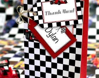 Racing Car Party Favor Tags - INSTANT DOWNLOAD - Editable & Printable Birthday Decorations by Sassaby Parties