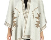 SALE Oatmeal Southwestern Aztec Navajo Poncho, Knit Wrap, Knitted Shawl, Aztec Poncho, One size, Plus size, Boho Poncho, Womens Ponchos