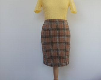 Preppy Librarian 70s Vintage Mini Pencil Skirt