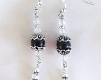 Black Onyx Earrings, Victorian Crystal Earrings, Chandelier Earrings,Wire Wrapped Earrings,Gothic Earrings, Bridal Jewelry,Sterling Earrings