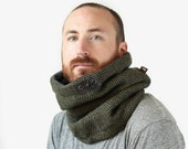 husband gift, gift idea for husband, gift for dads, Snock® thick green herringbone wool with soft lining