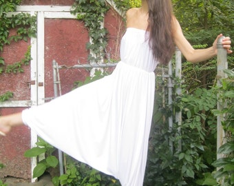 SPRING SALE! happy freedom! -bamboo harem white tube jumper -meditation wear yoga retreat festival casual earth-friendly soft xs small