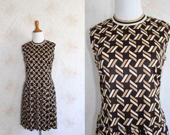Vintage 60s Mod Dress, 1960s Op Art Dress, Geometric Print, Pleated, Emilio Pucci
