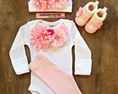 LAST ONE Newborn Girl Take Home Outfit, Pink and White Baby Outfit Baby Layette Hospital Take Home Coming Home Outfit New Baby Girl Outfit