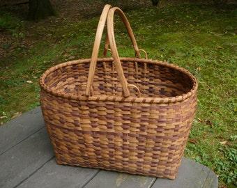 Vintage Cherokee Hand Made Basket Signed Amanda Smoker