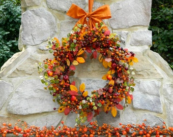 Autumn Berry Wreath - Fall Wreath - Thanksgiving Wreath - Waterproof Wreath