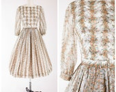 1950s Vintage Dress • In Sepia Tones • Floral Printed Chiffon Vintage 50s Party Dress with Full Skirt Size XSmall