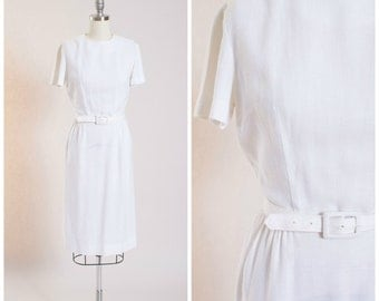 Vintage 1950s Dress White Rayon Linen 50s Vintage Sheath Dress with Matching Belt Size Small