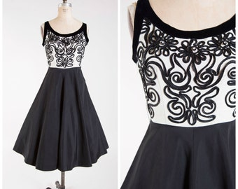 Vintage 1950s Dress • Soutachette • Black White Rayon Faille 50s Vintage Party Dress Size Medium