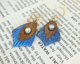Vintage Pierced Earrings Brass Blue Glass Dangle 80's (item 180)