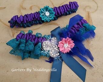 Teal Lace Wedding Garter Set,  Purple Teal, Bridal Garter Set, Wedding Garter Belt, Purple Haze
