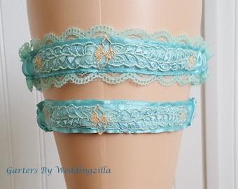 Blue Wedding Garter Set ,  Blue Lace Garter , Blue Bridal Garter,  Wedding Garter Belt