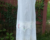 Boho White Cotton Slip Dress with Vintage Hankies and lace - Junk Gypsy Shabby Chic - Medium