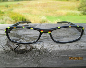 Hand painted reading glasses, black frame, flower bud readers, red yellow floral, +.50 Calabria frames, stylish painted eyewear