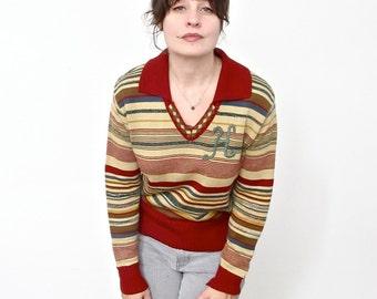 Vintage Seventies Sweater with H Monogram . Size Medium