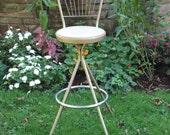 Vintage Mid Century Retro Swivel Stool Counter Bar Chair Stool 3 Legged Atomic Metal Industrial