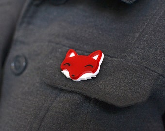 Fox Brooch - Fox Badge - Woodland Animal - Animal Badge Cute Brooch - Acrylic Jewellery Jewlery - Gift For Fox Lover