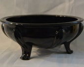 Black Amethyst Glass - Scrying/Gazing Bowl - L. E. Smith 1920s Art Deco
